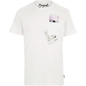 Jack & Jones - Wit T-shirt met polaroidprint