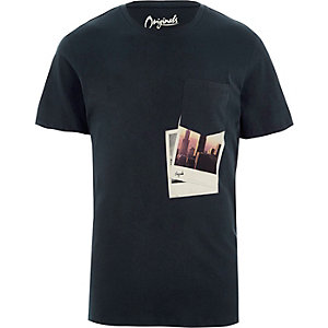 Dary grey polaroid print Jack & Jones T-shirt