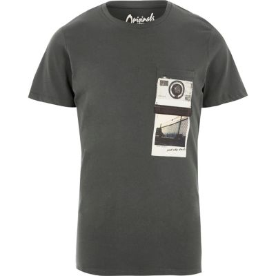 Jack and Jones Zwart washed T-shirt met polaroidprint