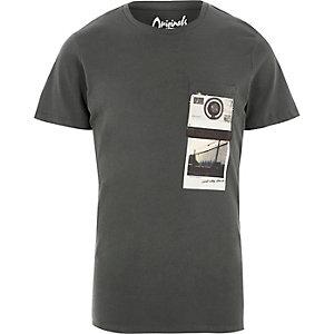 Jack & Jones - Zwart washed T-shirt met polaroidprint