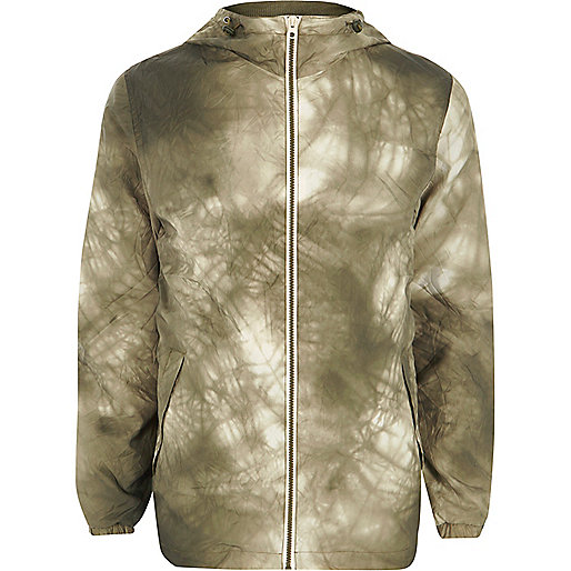 Green Jack & Jones lightweight tie dye jacket