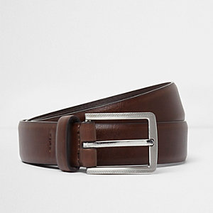 Brown smart silver tone buckle belt