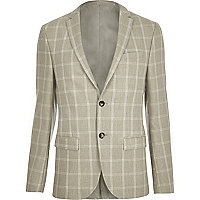 Sand check skinny fit suit jacket