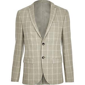 Sandgraue Skinny Fit Anzugsjacke mit Karos