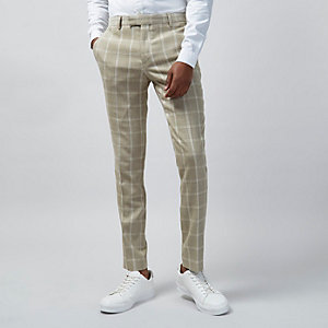 Zandkleurige geruite skinny fit pantalon