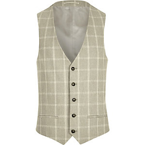 Beige check suit vest