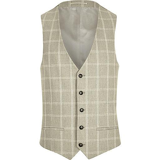 Sand check suit waistcoat