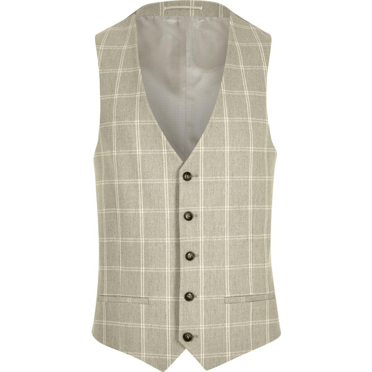 Sand check suit vest