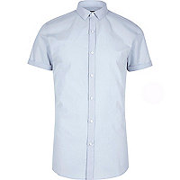Big and Tall blue short sleeve slim fit shirt