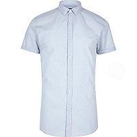 Chemise Big & Tall bleue à manches courtes coupe slim