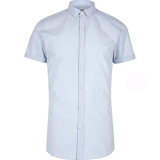 Big and Tall blue short sleeve slim fit shirt