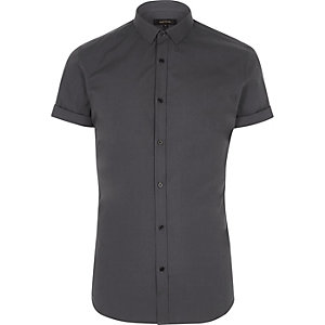 Dunkelgraues, kurzärmliges Slim Fit Hemd