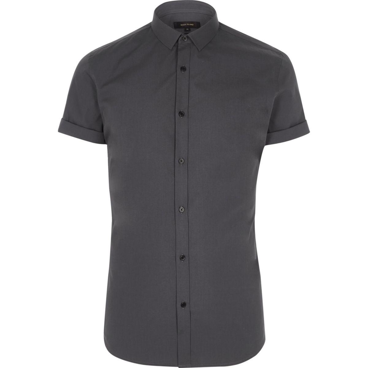 dark grey short sleeve slim fit shirt shirts sale men