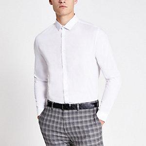 Wit net slim-fit overhemd met lange mouwen