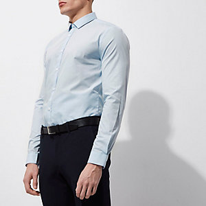 Lichtblauw slim-fit net overhemd met lange mouwen