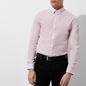 Pinkes, langärmliges Slim Fit Hemd