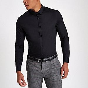 Zwart slim-fit net overhemd met lange mouwen