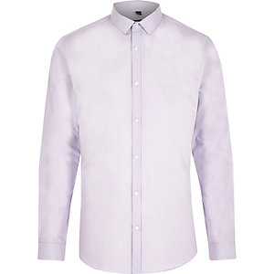 Light purple slim fit long sleeve smart shirt