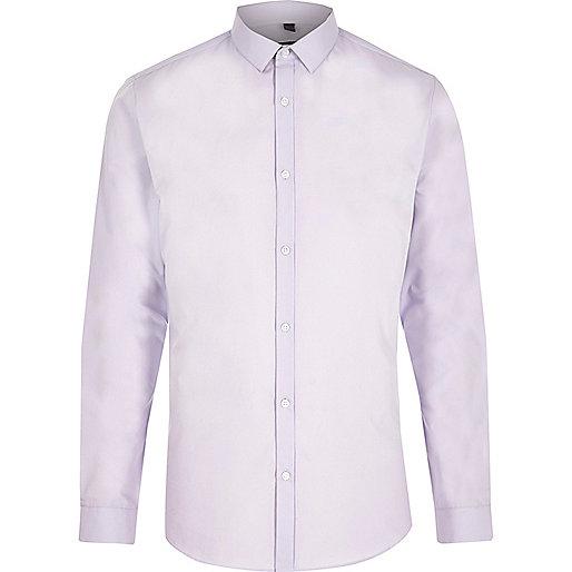 Light purple slim fit long sleeve smart shirt