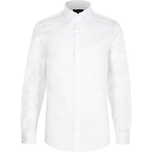 White twill long sleeve slim fit shirt