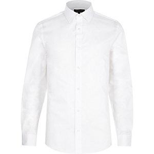 Weißes, langärmliges, schmales Twillhemd