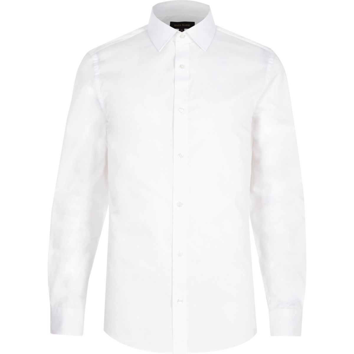 White twill long sleeve slim fit shirt