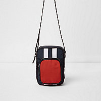 Red color block cross body flight bag