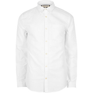 Weißes Regular Fit Oxford-Hemd
