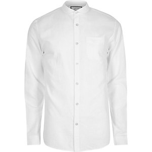 White cotton penny collar Oxford shirt