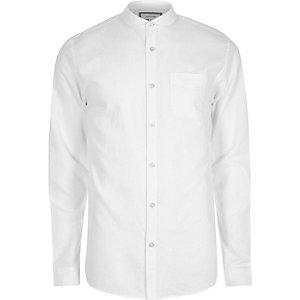 White cotton penny collar Oxford shirt
