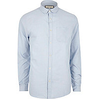 Light blue casual penny collar Oxford shirt