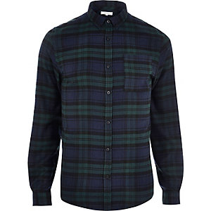 Green casual check shirt