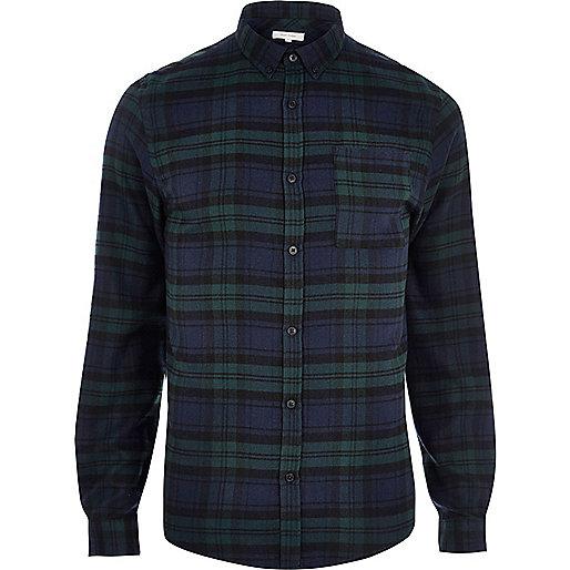 Green casual check shirt