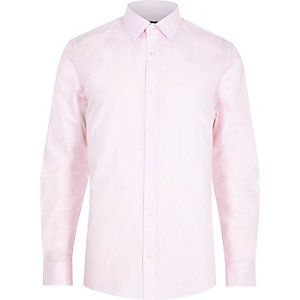 Chemise slim rayée rose à manches longues