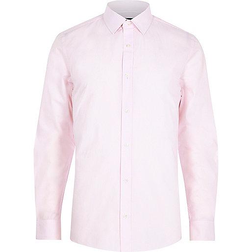 Pink stripe print long sleeve slim fit shirt