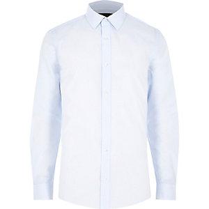 Blue stripe print long sleeve slim fit shirt