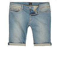 Big & Tall – Blaue Slim Fit Jeansshorts