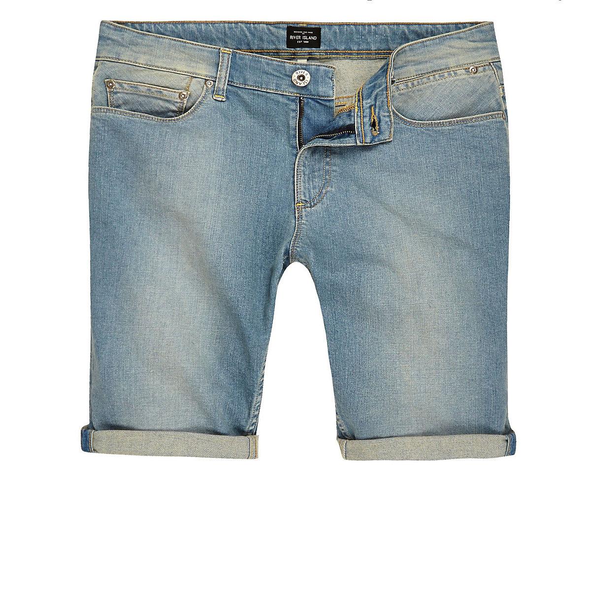 Big and Tall blue faded slim fit denim shorts