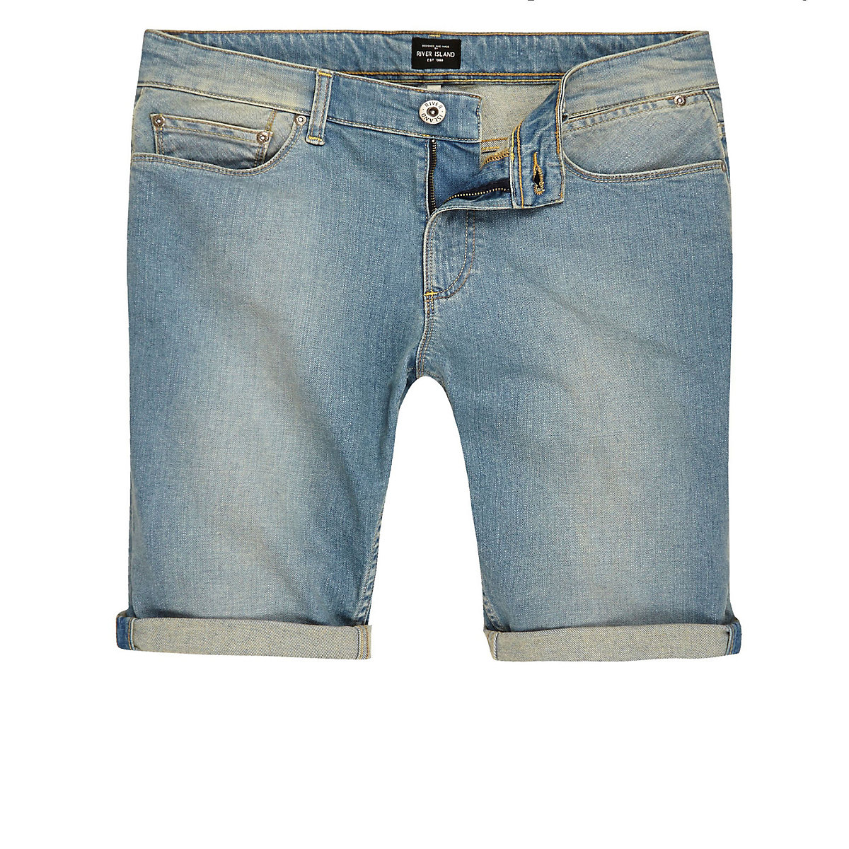 Big and Tall blue faded slim fit denim shorts