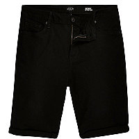 Big & Tall – Schwarze Slim Fit Jeansshorts