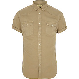 Light brown short sleeve western shirt