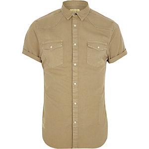 Chemise marron clair style Western à manches courtes