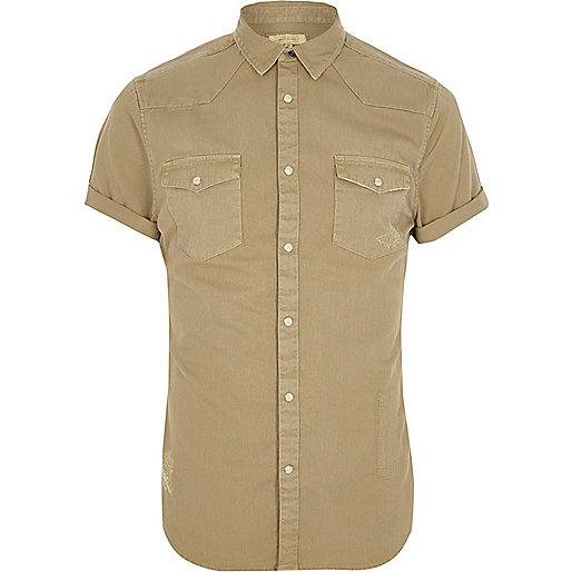Light brown short sleeve western shirt