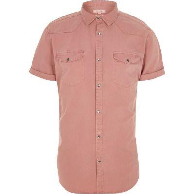 Roze Western overhemd met korte mouwen