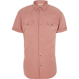 Pink short sleeve western shirt