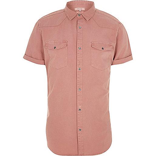 Pink short sleeve western shirt