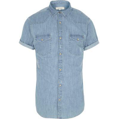 Blauw denim Western overhemd met korte mouwen