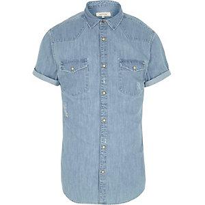 Chemise en jean bleu style Western à manches courtes