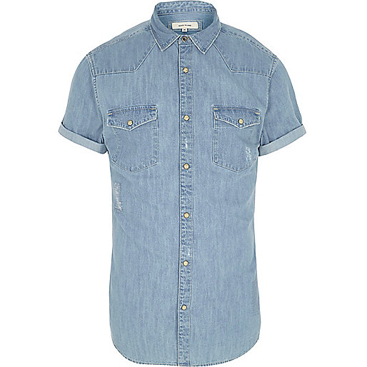 Blue denim short sleeve western shirt
