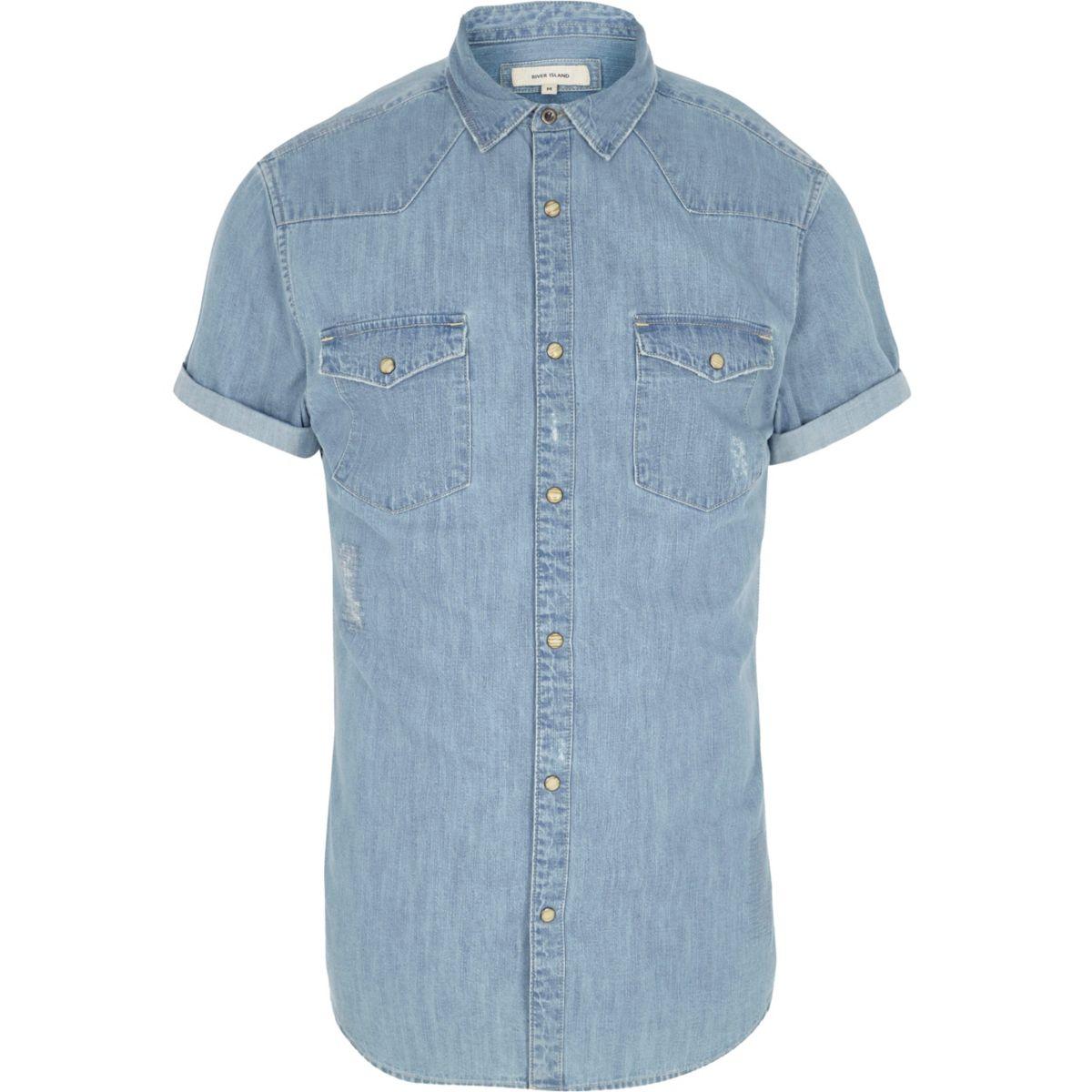 Blue denim short sleeve western shirt